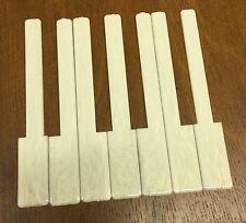 "Piano Keytops 1 Octave Simulated Glossy Ivory Grained Key Tops, 2"" Long Head"