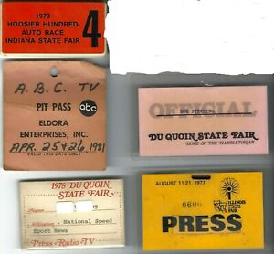 1970s - 80s AUTO RACING & STATE FAIR VENUE MEDIA CREDENTIALS GROUP HOOSIER 100