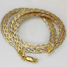 Solid AU750 18K Multi-Tone Gold Women's Knitted Italy Design Chain Necklace