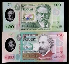 2020 URUGUAY NEW POLYMER UNC NOTES - 20 & 50 PESOS - JUST ISSUED