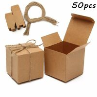 100pcs Kraft Brown Vintage Square Candy Gift Boxes Wedding Birthday Party Favor