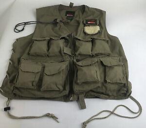 Garcia Fly Fishing Vest Khaki Lambskin Fly Patch Size L XL 15 Pockets
