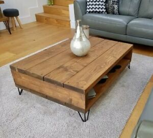 industrial Wood Rustic Handmade Pine Frogham Coffee Table Finished in Chunky Oak