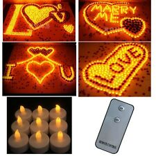 12 Flameless Candles Battery Flickering Yellow LED Tealights Remote Control GL
