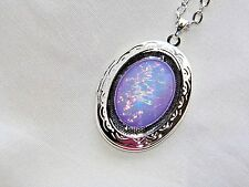 CHRISTMAS WEDDING MOONSTONE PURPLE opal LILAC LAVENDER LOCKET Necklace Pendant