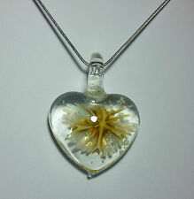 Lampwork glass with Yellow Flower Heart Design on 925 Sterling Silver Necklace