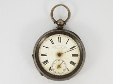 Open Face Spares or Repair Jw35 Antique Small Pocket Watch 935 Silver