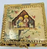 Vintage Trinket/Sewing/Candy Box Handmade From Vintage Holy Christmas Cards