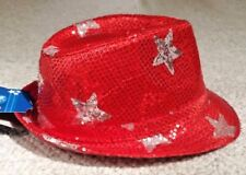 only 1 on ebay! SILVER STARS ReD SeQuiN FEDORA TRILBY Hat LED LightsUp PATRIOTIC