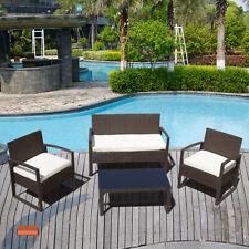 Brown 4 Piece Outdoor Rattan Wicker Patio Sofa & Table Set Cushioned Lawn Garden