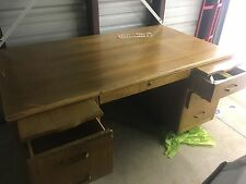 leopold office desk all wood. Large desktop. Everything functional All wood