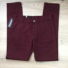 Dr Denim Karl Burgundy Slim Tapered Chinos Mens Jeans Size 29/32 RRP $149 (FF20)