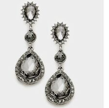 "2.25"" Long Gray Grey Black Dangle Glass Crystal Pageant Rhinestone Earrings"