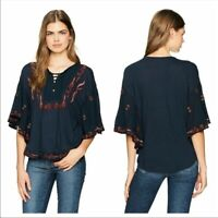 Lucky Brand Embroidered Peasant Blouse Top Lace Up Blue M Medium NWT