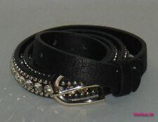 Damen-Gürtel aus Leder mit Strass/Zirkonia-Kleidung, Taschen & Schuhen