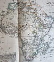 Africa continent Mt. Profile diagram 1876 Stulpnagel variant old engraved map