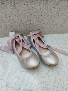 NEW Next Pink Silver Party Ballet Style Pump Ribbon Tie Shoes Size UK Size 4
