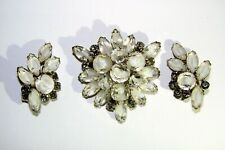 Brooch Pin Earrings Set Navettes Vintage White Clear Cats Eye Rhinestone