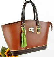 Claudia G. Boutique Style Beautifully Handcrafted Lrg Leather Handbag Tote Purse