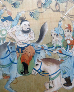 2 Asian Detailed Mongolian Painting on Silk Wall Art Warriors Horses 1800's