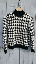 Ralph Lauren Womens Hand Knit Lambswool Houndstooth Mockneck Sweater Petite S