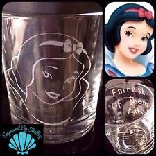 Personalizzata Disney Princess Biancaneve in vetro fatto a mano Incisione Messaggio gratuito!