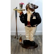 Statue With Serving Tray Dog Butler in Tuxedo w Bow Tie 39 Inch Boxer Waiter