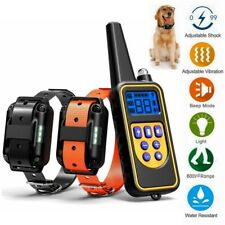 875Yard Electric Dog Shock Collar Rechargeable Waterproof Remote Training 2 Dogs