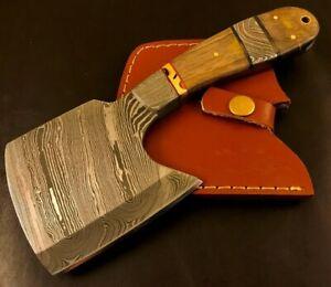 Handmade Damascus Steel Hatchet/ Axe-Leather Sheath-Lanyard-MD70