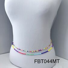 Set of 2 Trendy Stretchable beaded Stackable Multicolor Belly Chain Waist Belt