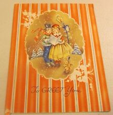 VINTAGE USED CHRISTMAS CARD CAROLING TO GREET YOU -SO CUTE!