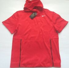 Nike Men Therma Fit Short Sleeve Shirt Hoodie - 908349 - Red 657 - Size L - NWT