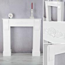 Edle Kaminumrandung im Landhaus Stil in Weiß Kaminkonsole Verkleidung Kaminsims