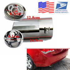 US Stock Car Universal Silver Stailess Steel Round Exhaust Muffler Tail Pipe Tip