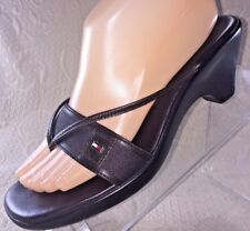 TOMMY HILFIGER Martina Women 8 Sandal Brown Wedge Heel Thong Slide Shoe Leather