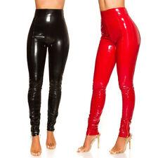 KouCla High Waist Latex Look Leggings Wet Leather Look Pants - Red Black