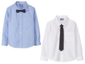 Boys' Shirt & Bow or Tie White Blue 12 24 m 2 3 4 5 6 Years 86 92 98104 110 116