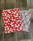 1940 Feedsack 2pc Reds Blues Florals Remnants Quilting Sewing Fabric