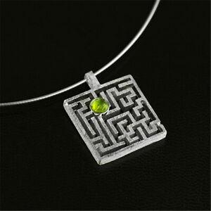 Unique Design Solid 925 Silver Jewelry Square Maze Gemstone Pendant for Women
