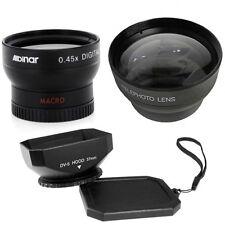 37mm Wide Telephoto Lens Kit + Hood for Sony Handycam CCD TRV87E,TRV138,HDR-HC1E