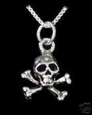 LOOK Skeleton Skull and Cross Bone Pendant Charm Sterling Silver 925 Jewelry