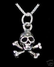 COOL Skeleton Skull and Cross Bone Pendant Charm Silver