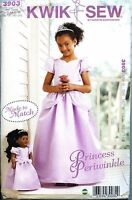 NEW Uncut Kwik Sew 3903 Princess Periwinkle Matching Girl Doll Dress size 4 - 14