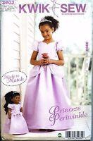 NEW Uncut Kwik Sew 3903 Princess Periwinkle Matching Girl Doll Dress size 4 - 14