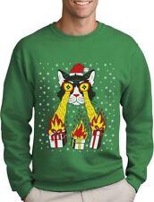 Holidays Funny Laser Eyes Xmas Cat Ugly Christmas Sweatshirt Gift Idea