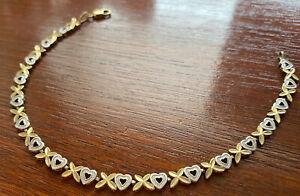 """10k Yellow White Two Tone Gold Hearts X Design Tennis Bracelet 7.5"""" L x 3/8"""" W"""