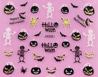 Halloween Gold Skull Pumpkin Vampire Cat Ghost Grave Cross 3D Nail Art STICKERS