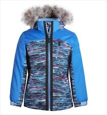 Girls Winter Jacket Size Medium 10 12 Blue Removable Hood Snow Coat Faux Fur NWT
