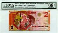 AUSTRALIA  $2 LUNAR DOLLARS 2015 SILVER RESERVE OF THE MOON LUCKY MONEY $300