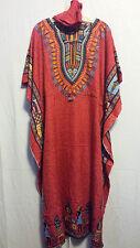 New Women dashiki Dress Kaftan Caftan Poncho Hippie Drawstring Red Free Size
